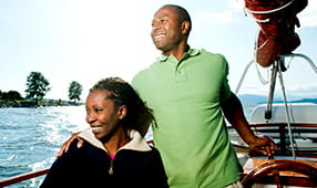 Couple Smiling on Boat