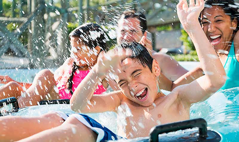 Children playing in a water park