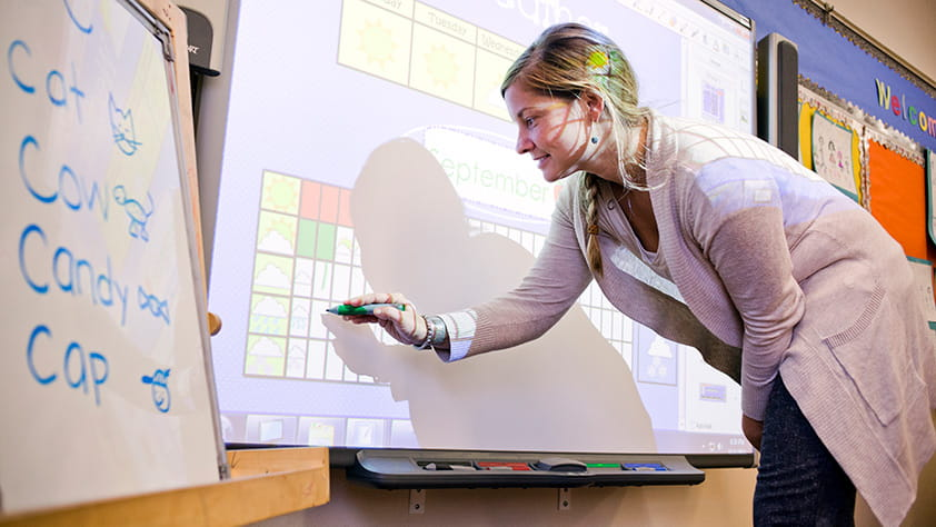 Interactive Whiteboards And Digital Displays Enhance Classroom